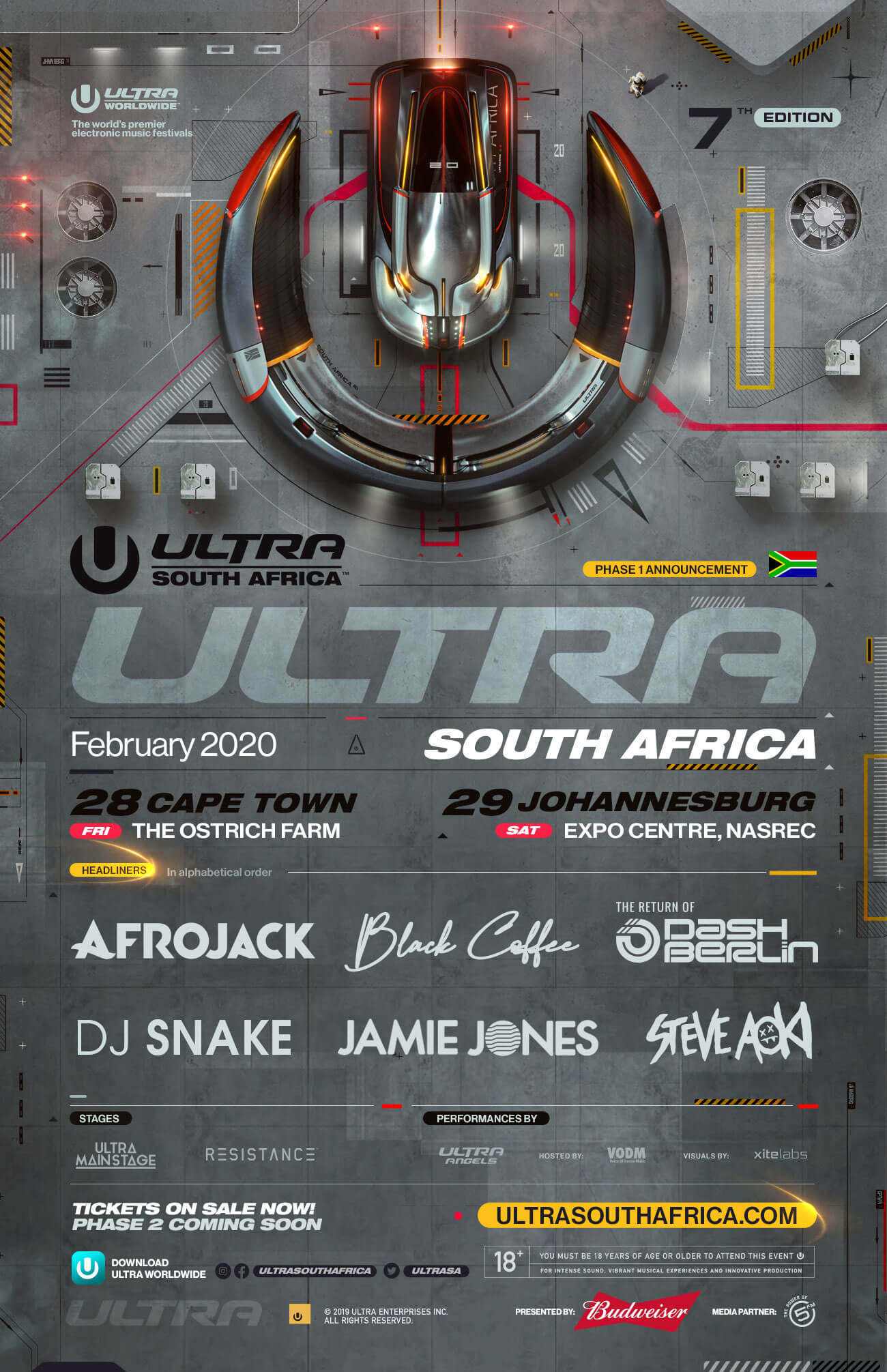 south africa lineup phase1 2020 - Ultra South Africa 2020: Phase one line-up announced